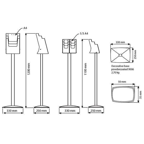 Boden Prospektständer Pillar 3 x DIN A4 4