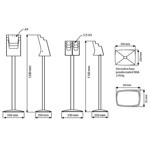 Boden Prospektständer Pillar 6 x DIN lang 3