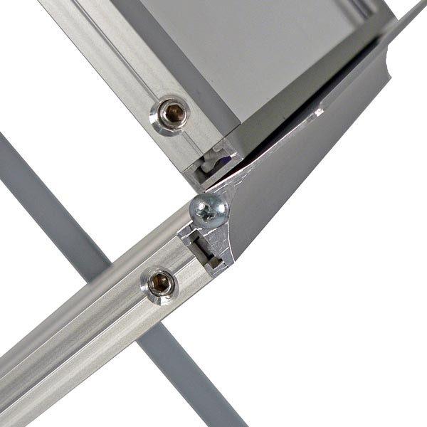 Falt Prospektständer Acryl Silber 6 x DIN A3 inkl. Alu Transportkoffer Silber eloxiert 1