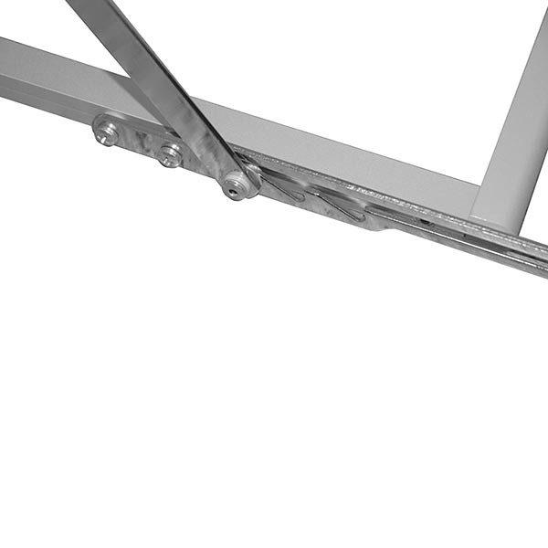 Falt Prospektständer Acryl Silber 6 x DIN A3 inkl. Alu Transportkoffer Silber eloxiert 2