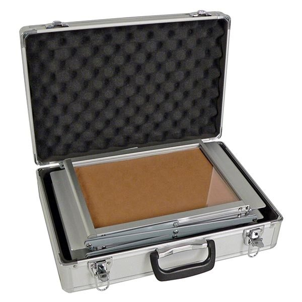 Falt Prospektständer Acryl Silber 6 x DIN A3 inkl. Alu Transportkoffer Silber eloxiert 3