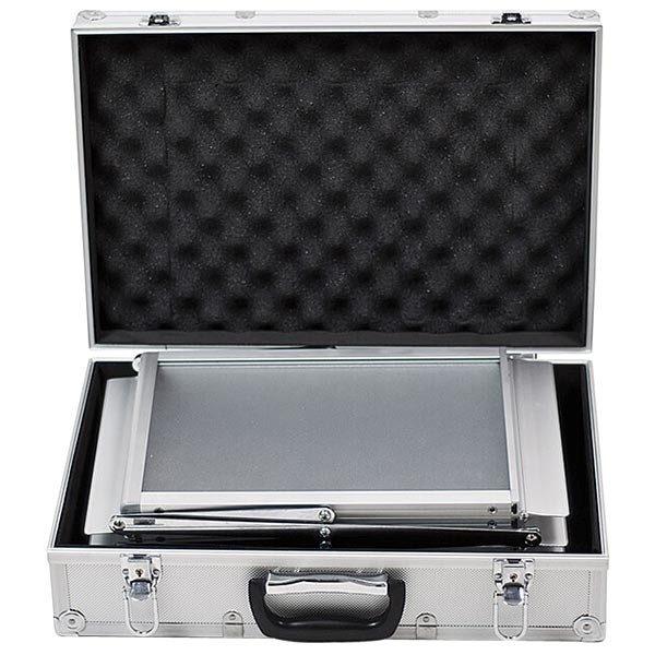 Falt Prospektständer Acryl Silber 6 x DIN A4 inkl. Alu Transportkoffer Silber eloxiert 3