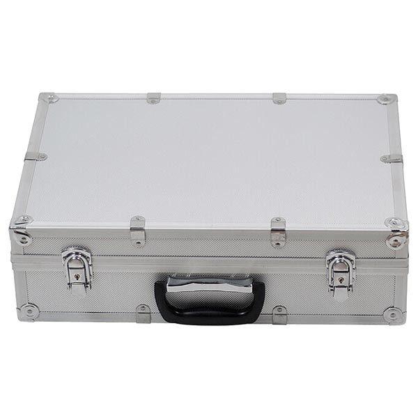 Falt Prospektständer Acryl Silber 6 x DIN A4 inkl. Alu Transportkoffer Silber eloxiert 4