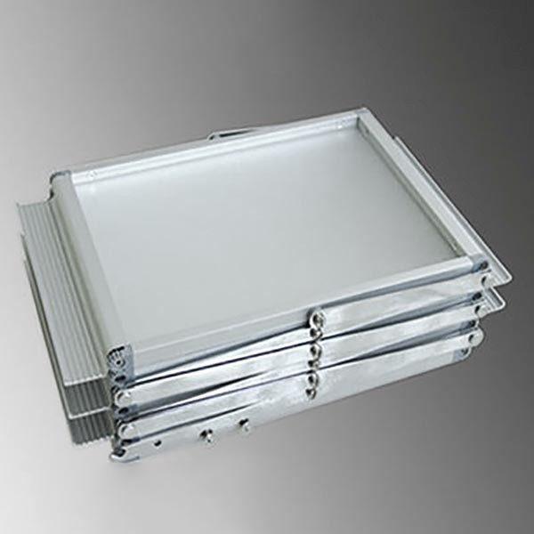 Falt Prospektständer Acryl Silber 6 x DIN A4 inkl. Alu Transportkoffer Silber eloxiert 5