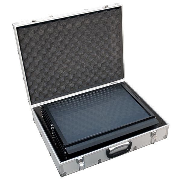 Falt Prospektständer Acryl schwarz 6 x DIN A3 inkl. Alu Transportkoffer schwarz 3
