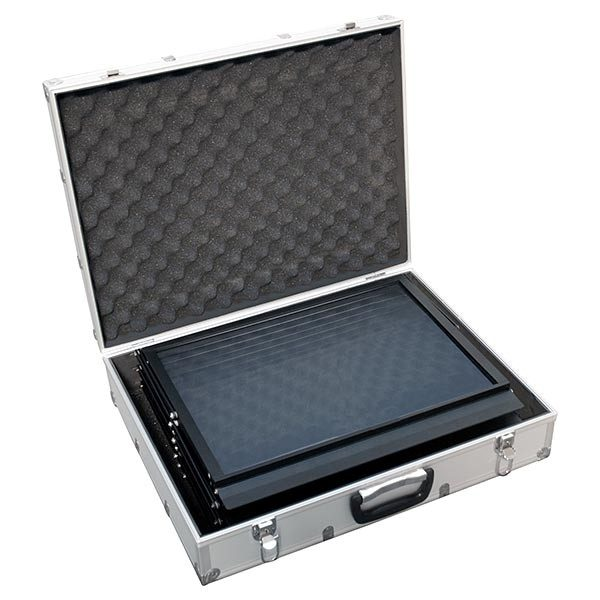 Falt Prospektständer Acryl schwarz 6 x DIN A4 inkl. Alu Transportkoffer schwarz 3