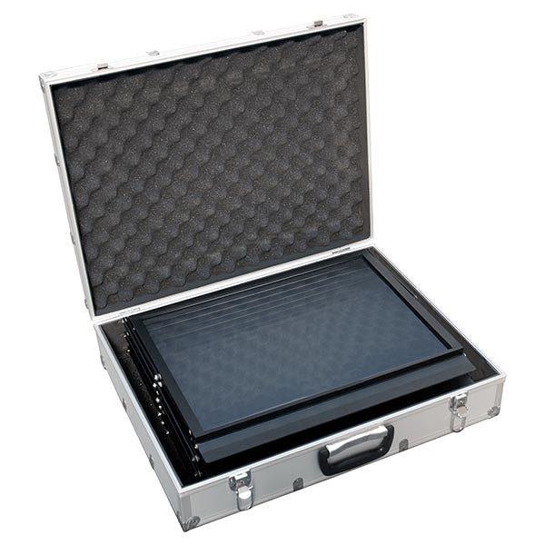 Falt Prospektständer Acryl schwarz 6 x DIN A5 inkl. Alu Transportkoffer schwarz 3