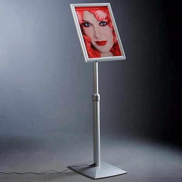 Flexibler LED Infoständer silber DIN A4 Postermaß 1
