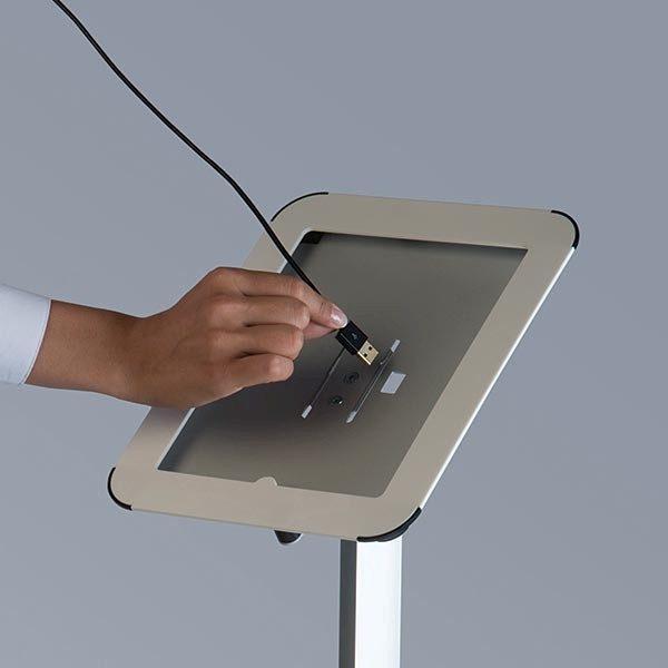 Flexibler iPad Infoständer mit verstellbarer Höhe weiß im Hoch und Querformat nutzbar 1