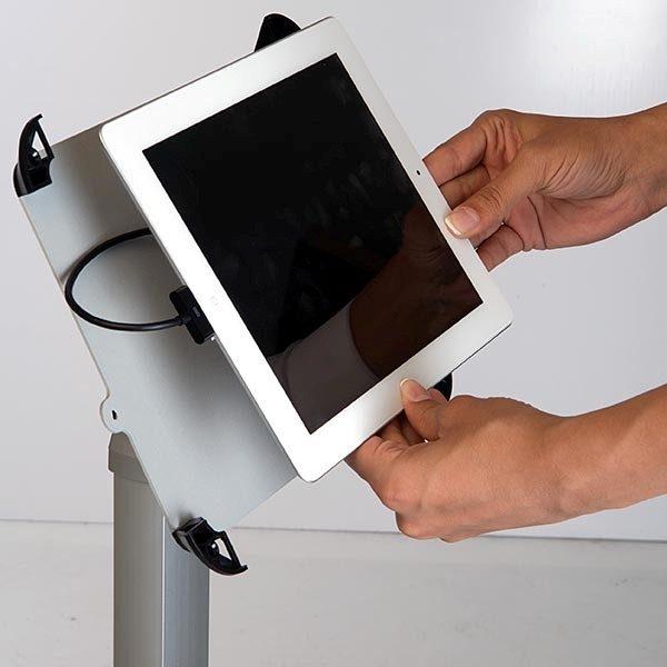 Flexibler iPad Infoständer mit verstellbarer Höhe weiß im Hoch und Querformat nutzbar 5