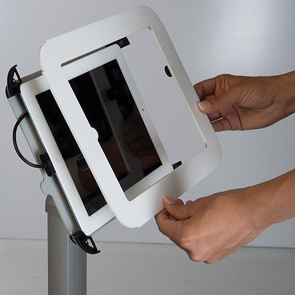 Flexibler iPad Infoständer mit verstellbarer Höhe weiß im Hoch und Querformat nutzbar 6