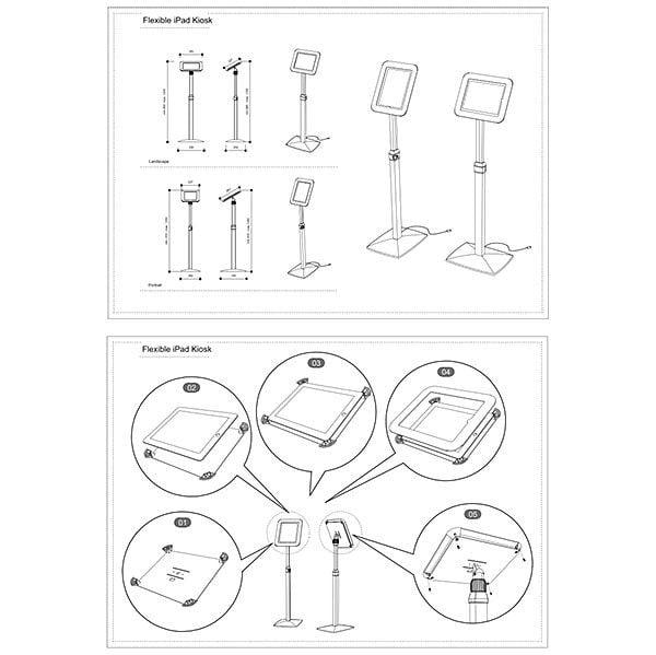 Flexibler iPad Infoständer mit verstellbarer Höhe weiß im Hoch und Querformat nutzbar 8