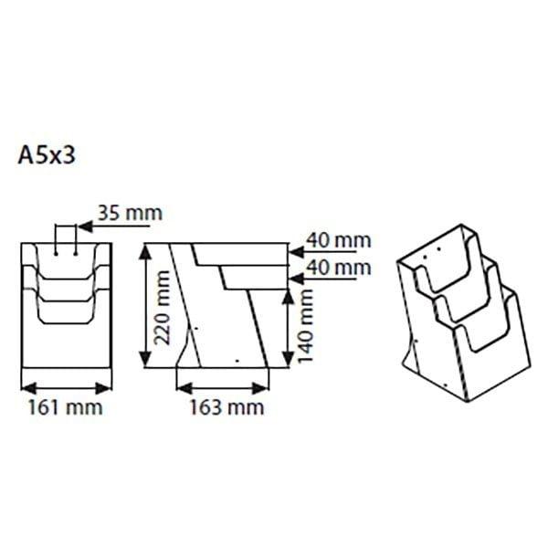 Mehrfach Tischprospekthalter DIN A5 x 3 Hochformat VPE 12 Stück 3