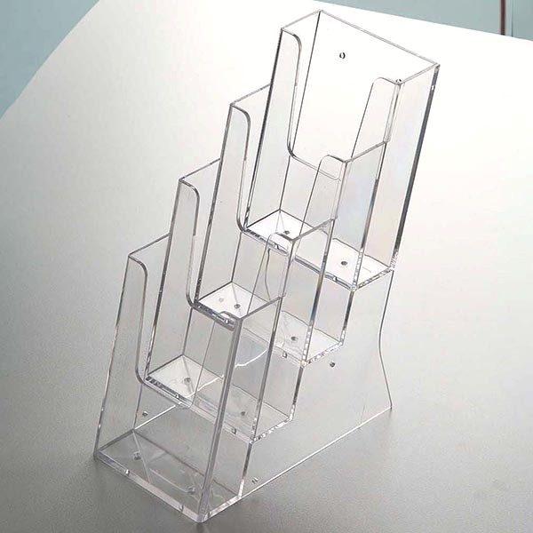 Mehrfach Tischprospekthalter DIN lang x 4 Hochformat 100 x 210 mm 2