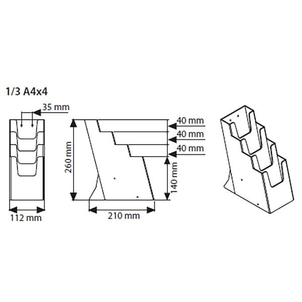 Mehrfach Tischprospekthalter DIN lang x 4 Hochformat 100 x 210 mm 3