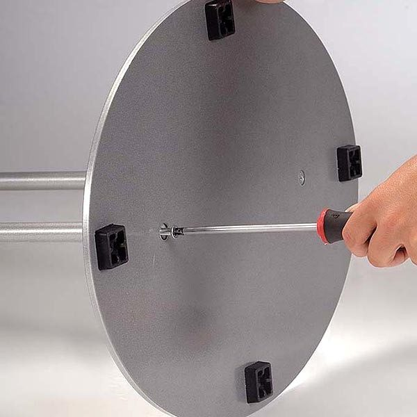 Ovalfuss Infoständer in silber DIN A1 Postermaß 3