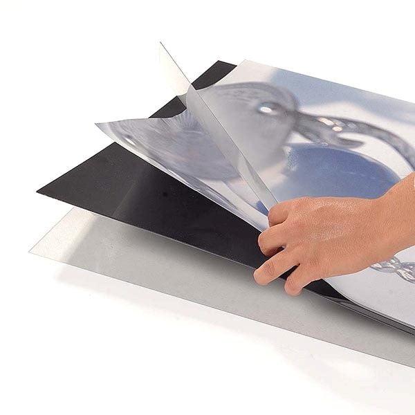 Ovalfuss Infoständer in silber DIN B2 Postermaß 9