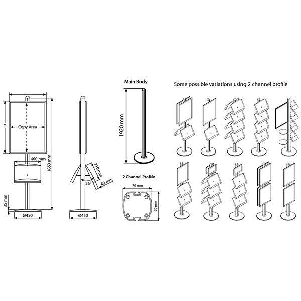 Plakatständer Free doppelseitig DIN A2 Postermaß 2x Stahlablage 4