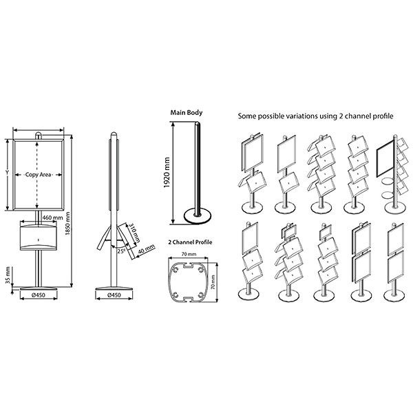 Plakatständer Free einseitig DIN A2 Postermaß 2x Stahlablage 4