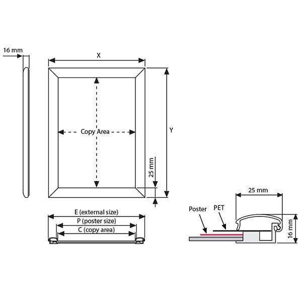 Wasserfester Klapprahmen 25mm DIN A4 Postermaß 4