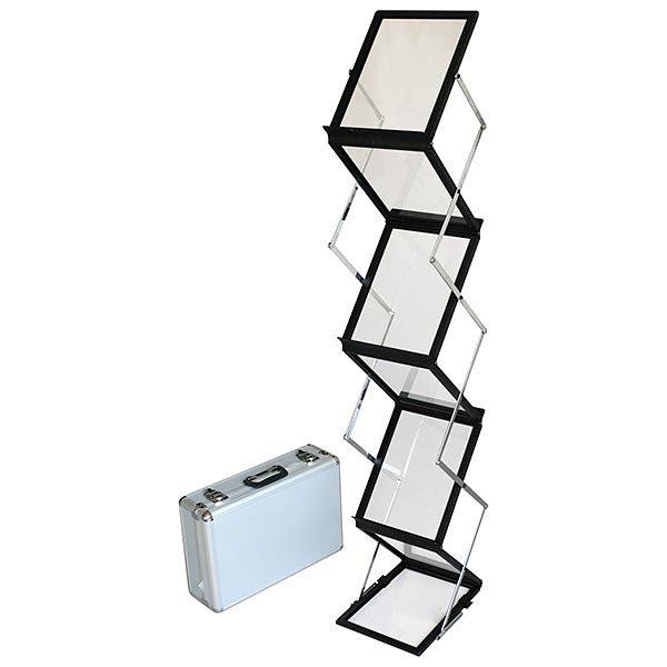 falt prospektständer acryl schwarz 6 x din a4 inkl. alu transportkoffer schwarz