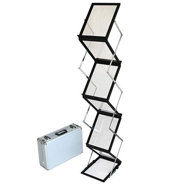 Falt-Prospektständer Acryl schwarz 6 x DIN A5 inkl. Alu-Transportkoffer, schwarz