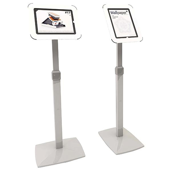 flexibler ipad infoständer mit verstellbarer höhe weiß im hoch und querformat nutzbar
