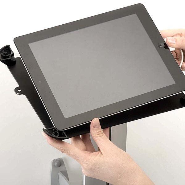iPad Infoständer Universal weiß im Hoch und Querformat nutzbar 4