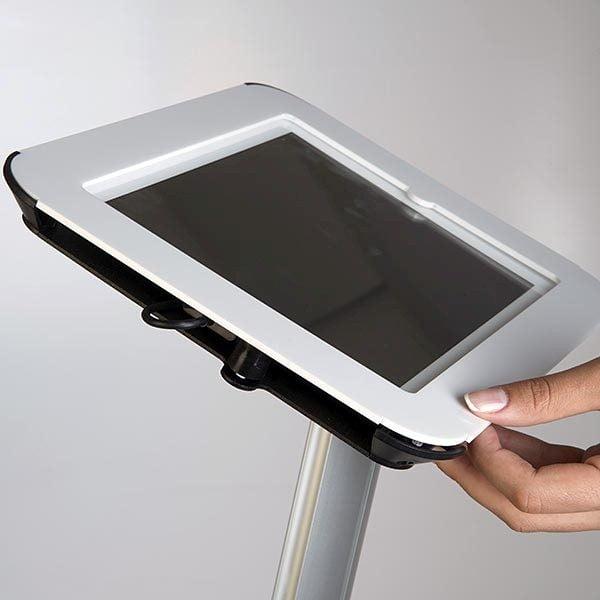 iPad Infoständer Universal weiß im Hoch und Querformat nutzbar 6