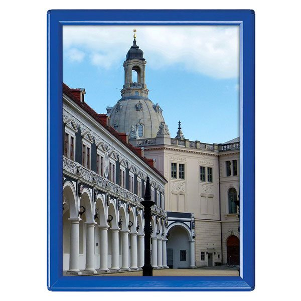 Klapprahmen Opti Frame Blau DIN A5 Postermaß mit Rückenstütze