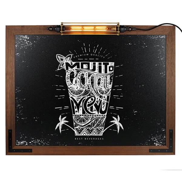 Kreidetafel Holz Noir LED 70x90 cm