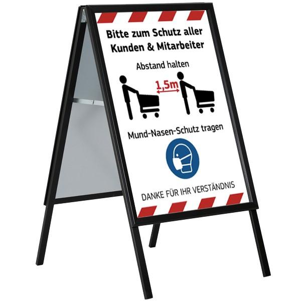 kundenstopper indoor schwarz a1 hygiene