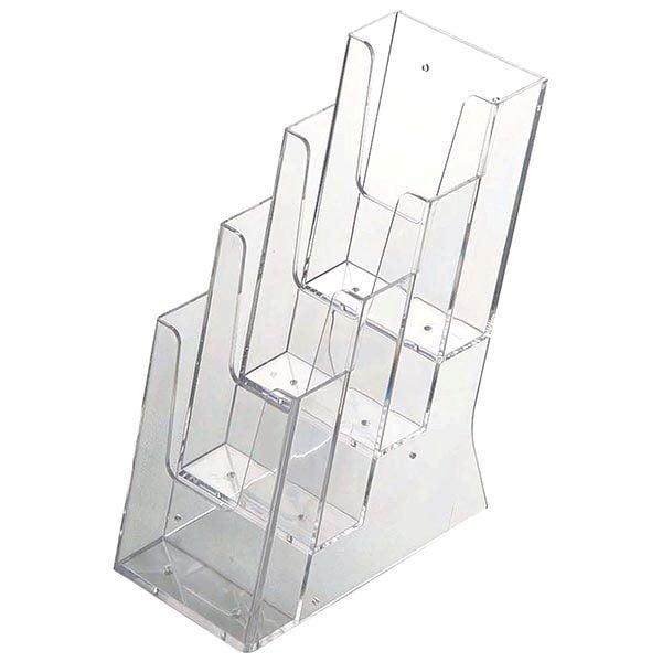 Mehrfach Tischprospekthalter DIN lang x 4 Hochformat (100 x 210 mm)