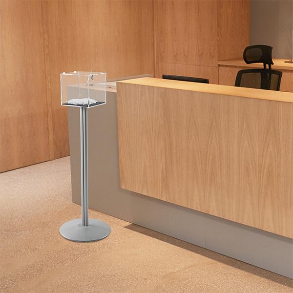 losbox ständer mit schloss 30x30x30 cm aus acryl 6