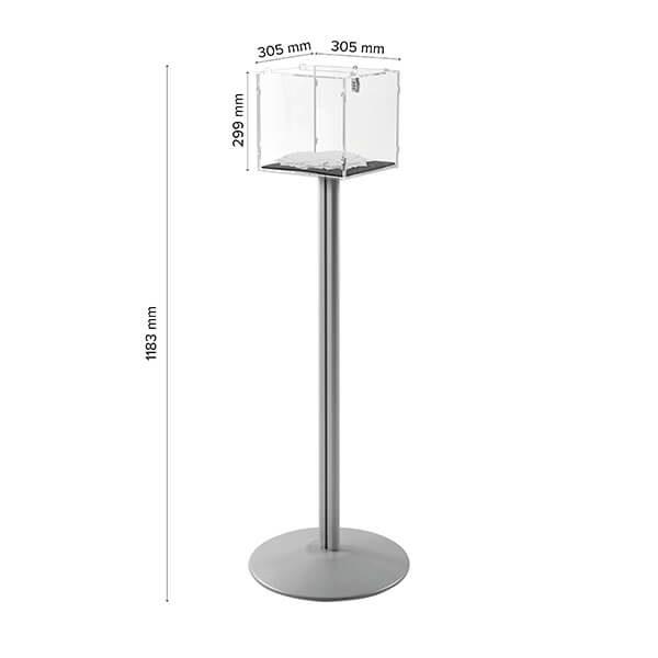 losbox ständer mit schloss 30x30x30 cm aus acryl 7