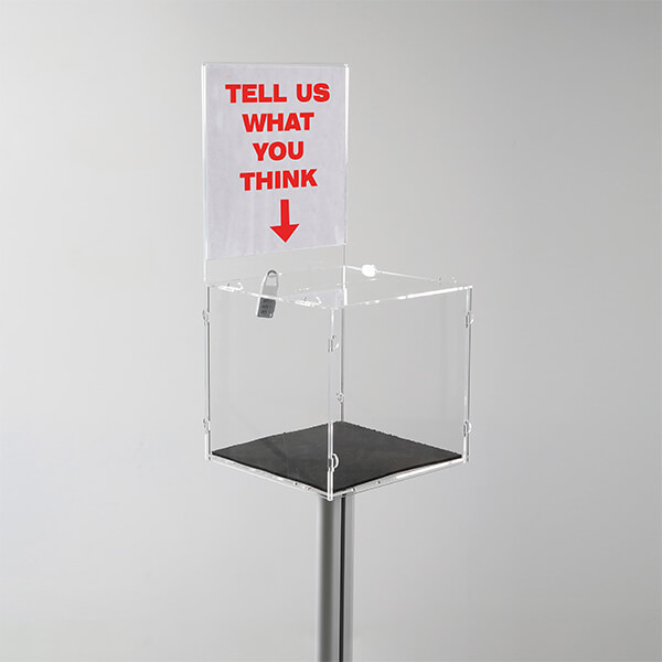 losbox ständer mit topschild 21x21x21 cm aus acryl abschließbar 4