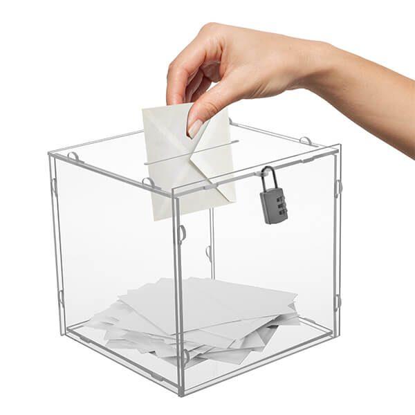 losbox ständer mit topschild 30x30x30 cm aus acryl abschließbar 1