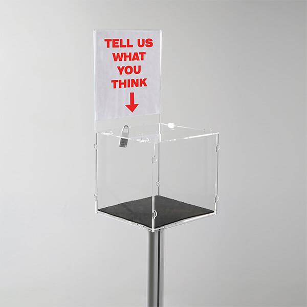 losbox ständer mit topschild 30x30x30 cm aus acryl abschließbar 3