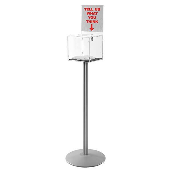 losbox ständer mit topschild 30x30x30 cm aus acryl abschließbar