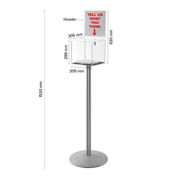 losbox ständer mit topschild 30x30x30 cm aus acryl abschließbar 8