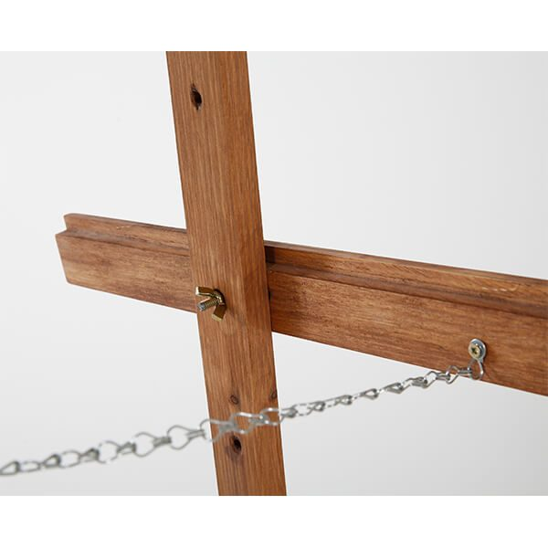 Holz Staffelei Basic dunkel lasiert Detail Stahlkette