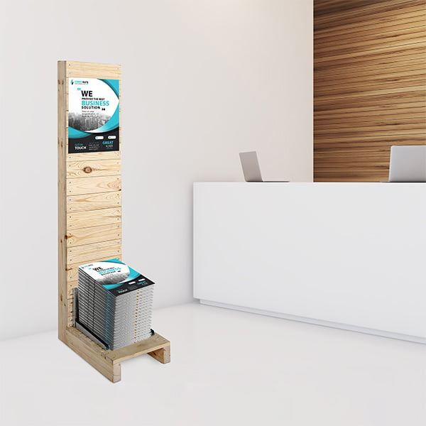 prospektstaender wood rack anwendung