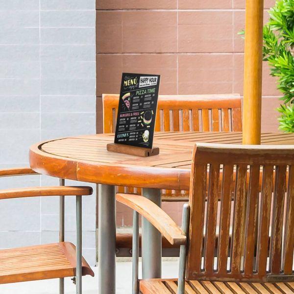 Tischaufsteller Holz DOUBLE DIN A5 Anwendung